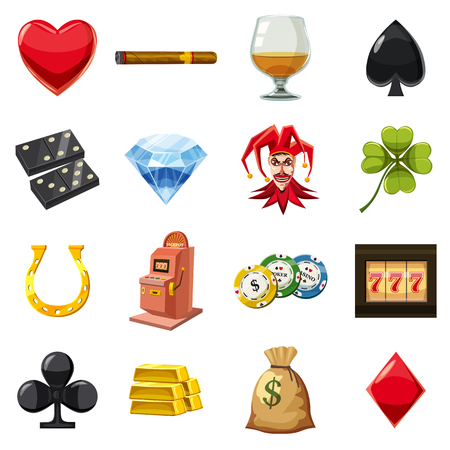 Casino icons set items symbols. Cartoon illustration of 16 casino icons for web