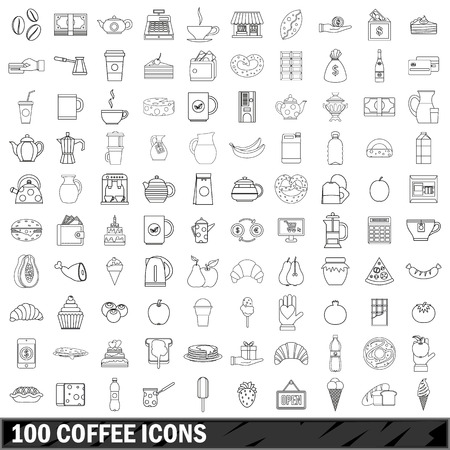 100 coffee set in outline style for any design illustration