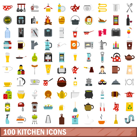 100 kitchen icons set in flat style for any design illustration