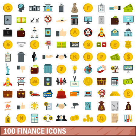 100 finance icons set in flat style for any design illustration