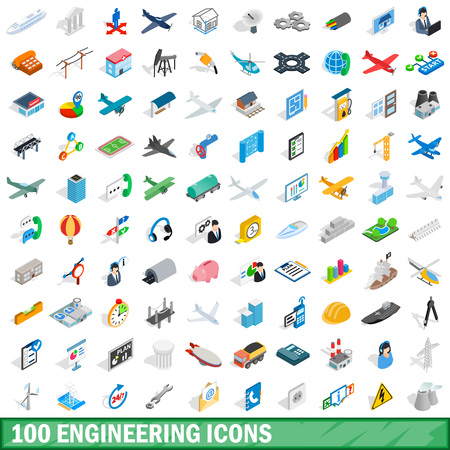 100 engineering icons set in isometric 3d style for any design illustration 写真素材