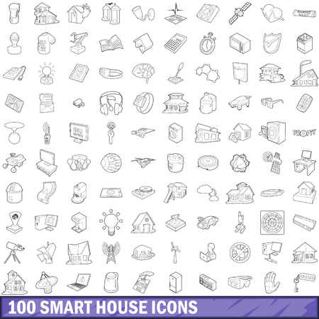 100 smart house icons set in outline style for any design illustration Фото со стока