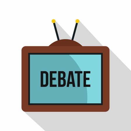 Retro TV with Debate word on the screen icon. Flat illustration of retro TV with Debate word on the screen icon for web isolated on white background