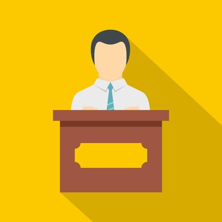 Public speaker icon. Flat illustration of public speaker icon for web isolated on yellow background Stock Photo