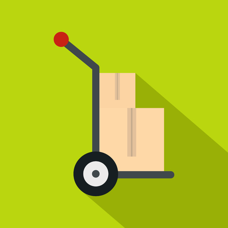 Hand cart with two cardboard boxes icon. Flat illustration of hand cart with two cardboard boxes icon for web isolated on lime background