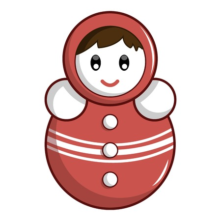 Red tumbler doll icon. Cartoon illustration of red tumbler doll icon for web Banco de Imagens