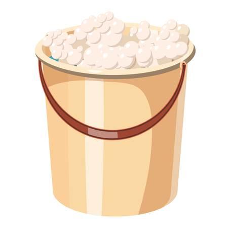 Bucket with foamy water icon. Cartoon illustration of bucket with foamy water icon for web Stock fotó