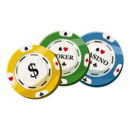 Colorful casino tokens icon. Cartoon illustration of colorful casino tokens icon for web Stock fotó