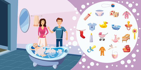 Family horizontal banner concept wash. Cartoon illustration of family wash horizontal banner for web Banco de Imagens