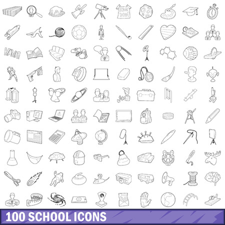 100 school icons set, outline style Stock Photo
