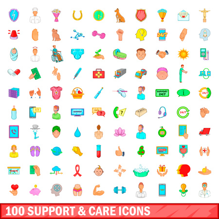 100 support and care icons set, cartoon style Stock Photo