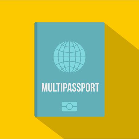 Passport icon, flat style