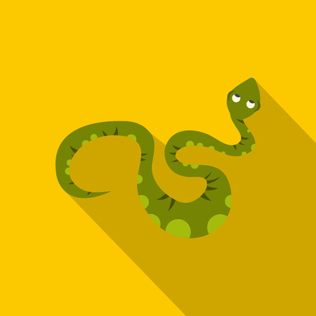 Green spotted snake icon, flat style