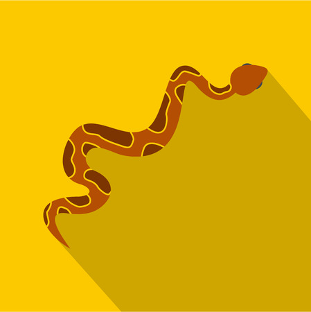 Brown snake icon, flat style