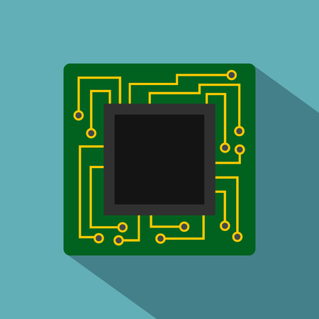 Microchip icon. Flat illustration of microchip icon for web Banque d'images