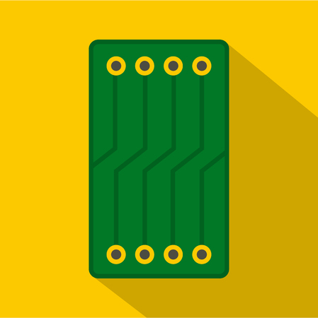 Green circuit board icon. Flat illustration of green circuit board icon for web Banque d'images