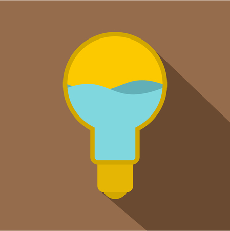 Yellow light bulb with blue water inside icon. Flat illustration of yellow light bulb with blue water inside icon for web Фото со стока