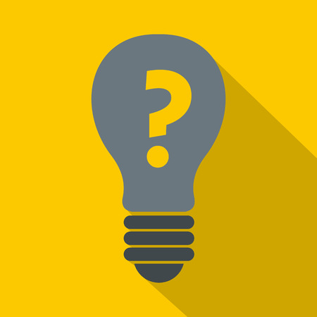 Gray light bulb with question mark inside icon. Flat illustration of gray light bulb with question mark inside icon for web Фото со стока