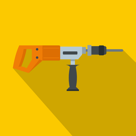 Electric drill, perforator icon, flat style