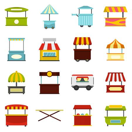 Street food truck icons set in flat style isolated illustration