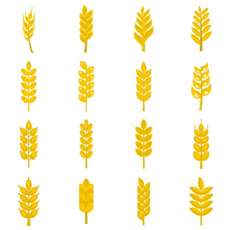 Ear corn icons set in flat style isolated illustration