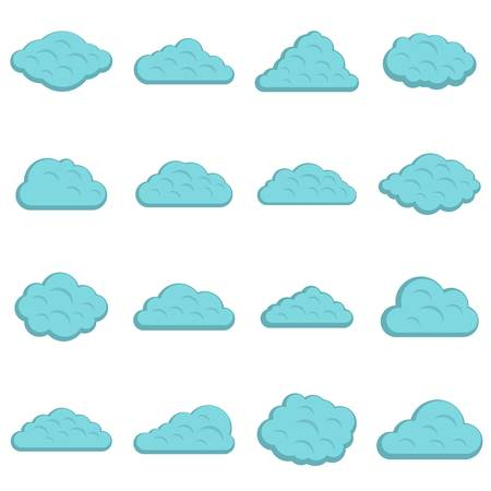 Clouds icons set in flat style isolated illustration