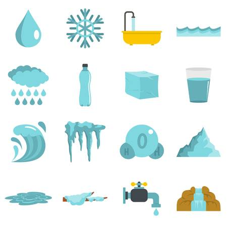 Water icons set in flat style isolated illustration Stock Photo