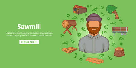 Sawmill banner horizontal, cartoon style