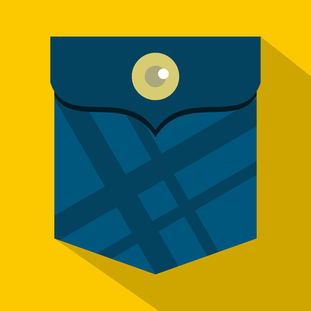 Blue pocket with a button icon. Flat illustration of blue pocket with a button icon for web on yellow background
