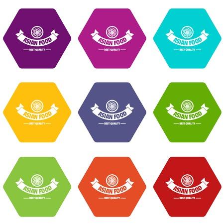 Hot asian food icons set 9 vector