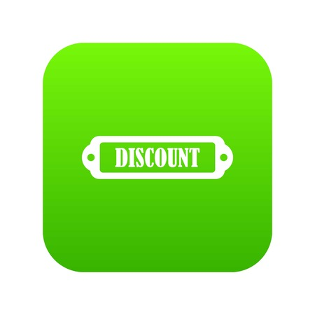 Discount label icon digital green for any design isolated on white vector illustration