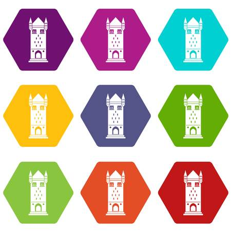 Castle tower icons set 9 vector Illustration