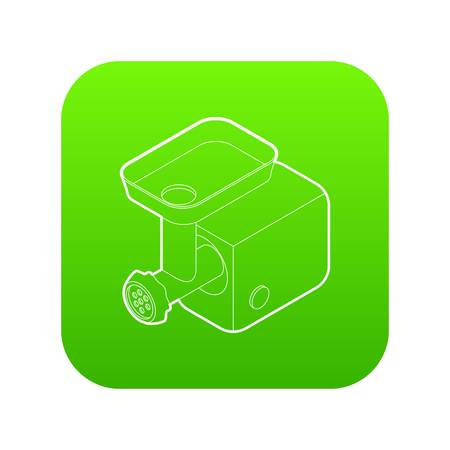Electric meat grinder icon green vector isolated on white background