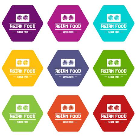 Traditional asian food icons set 9 vector