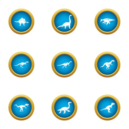 Skin saurian icons set, flat style