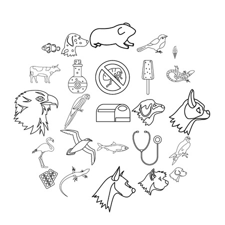 Domesticated animals icons set. Outline set of 25 domesticated animals vector icons for web isolated on white background