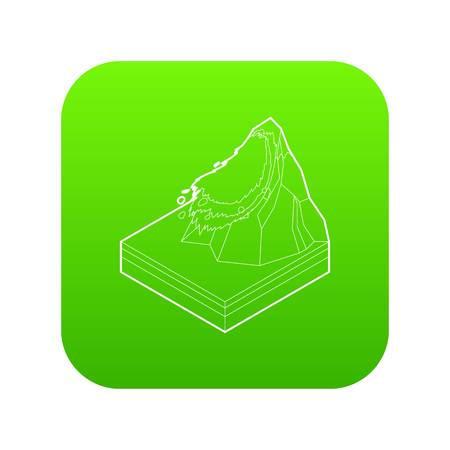 Avalanche icon green vector isolated on white background Çizim