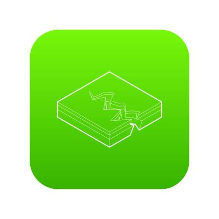 Earth crack icon green vector Illustration