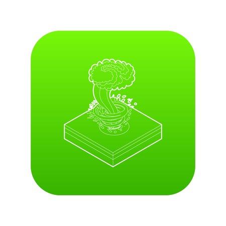 Tornado icon green vector