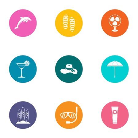 Shoreline icons set. Flat set of 9 shoreline vector icons for web isolated on white background