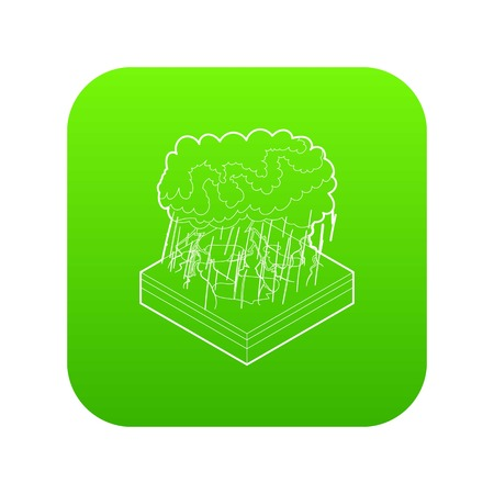 Thunderstorm icon green vector isolated on white background Illustration