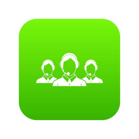 Customer support operators icon digital green for any design isolated on white vector illustration