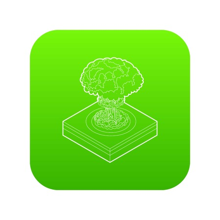 Nuclear explosion icon green vector isolated on white background