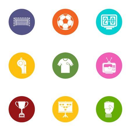 Sport goal icons set, flat style Illusztráció