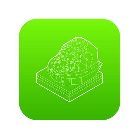 Rockfall icon green vector isolated on white background Çizim