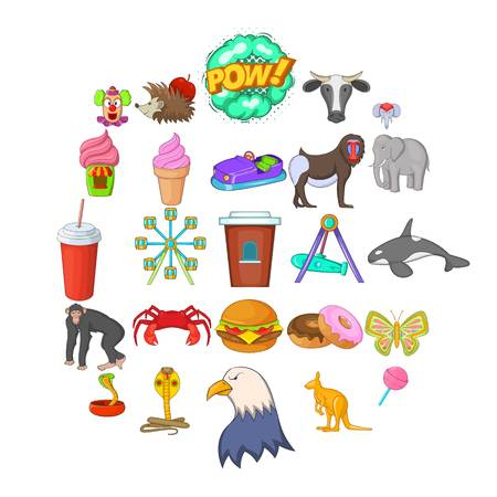 Zoo icons set, cartoon style Standard-Bild - 109575240
