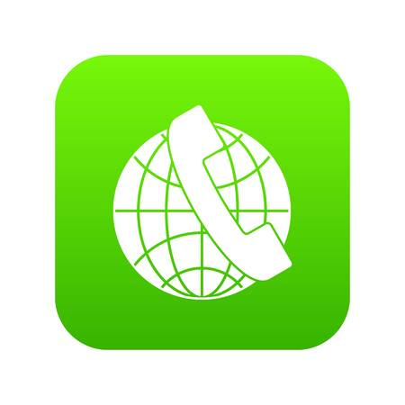 Handset and globe icon digital green for any design isolated on white vector illustration