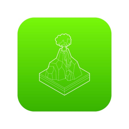 Volcano erupting icon green vector isolated on white background