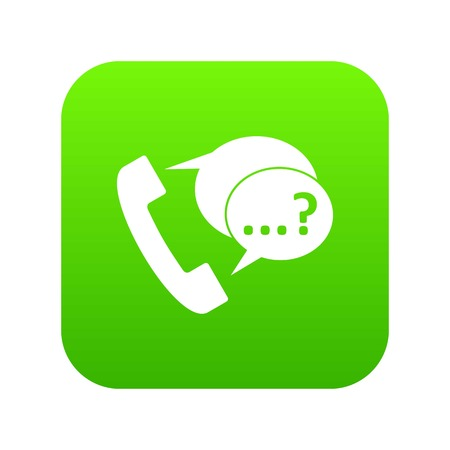 Phone sign and support speech bubbles icon digital green