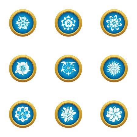 Ensemble d'icônes de fleur de glace. Ensemble plat de 9 icônes vectorielles de fleur de glace pour le web isolé sur fond blanc Vecteurs